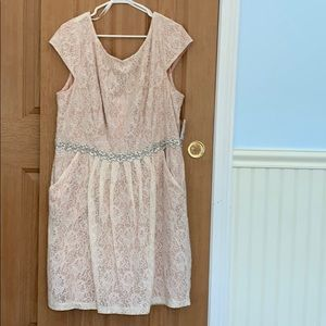 Dresses & Skirts - Pink dress with white lace over